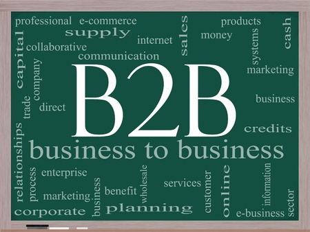 B2B Word Cloud Concept on a Blackboard featuring great terms such as business to business, e-commerce, sales, services and more. Stock Photo