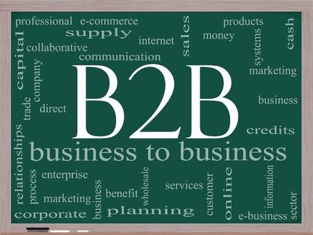 b2b: Palabra B2B concepto nube en una pizarra con unas condiciones de calidad, como de empresa a empresa, comercio electr�nico, servicios de venta, y mucho m�s. Foto de archivo