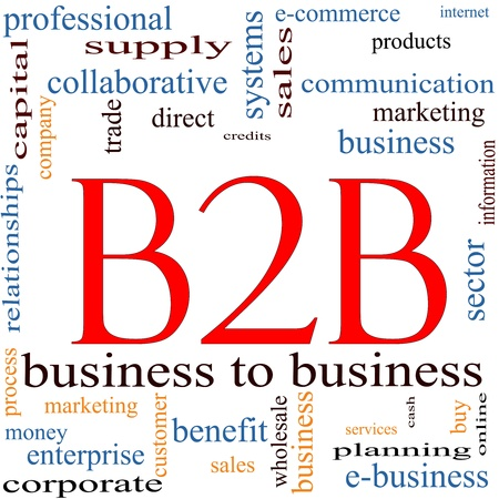 marketing online: B2B Word Cloud Concept featuring great terms such as business to business, e-commerce, sales, services and more. Stock Photo