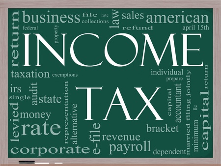 tax bracket: A word cloud concept around the words Income Tax on a blackboard with great terms such as April, refund, rate, bracket, file, prepare and more