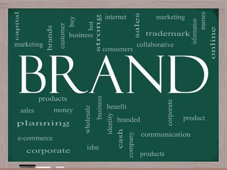 names: Brand Word Cloud Concept on a Chalkboard with great terms such as consumers, trademark, online, marketing, corporate, product and more.