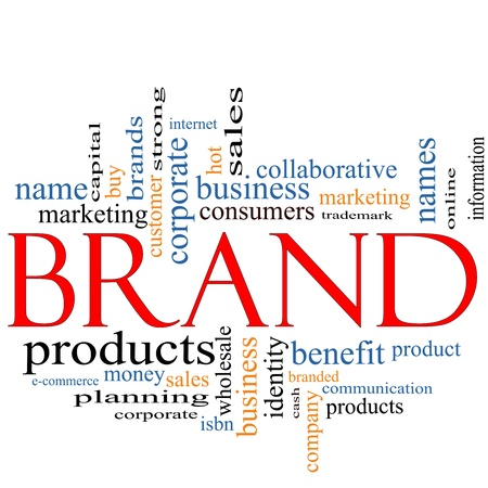business products: Brand Word Cloud Concept with great terms such as consumers, trademark, online, marketing, corporate, product and more.