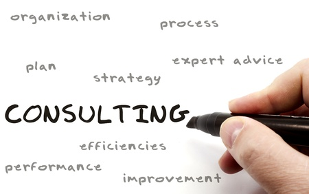consulting concept: Consulting being written with a black marker on a dry erase board by a hand with other terms such as organization, process, expert, advice, plan, strategy, and more.