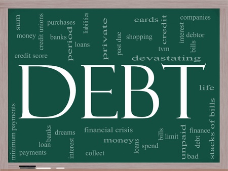 Debt Word Cloud Concept on a Chalkboard with great terms such as sum, money, financial, crisis, bills, limit, past due and more.