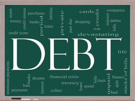 obligaciones: Palabra nube concepto de la deuda en una pizarra con los t�rminos de la talla de suma, dinero, crisis financiera, proyectos de ley, l�mite, vencidos y mucho m�s.