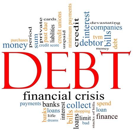schuld: Schuld Word Cloud Concept met grote begrippen als som, geld, financiële, crisis, rekeningen, limiet, vervallen en nog veel meer.