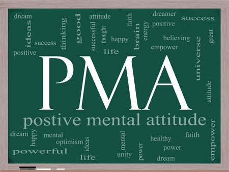 PMA Word Cloud Concept on a Chalkboard with great terms such as Positive Mental Attitude, empower, faith, dream, brain and more. photo