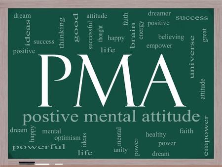 PMA Word Cloud Concept op een schoolbord met grote termen als positieve mentale houding, empowerment, geloof, dromen, de hersenen en nog veel meer.