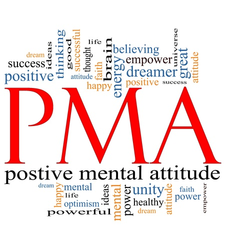 good attitude: PMA Word Cloud Concept great terms such as Positive Mental Attitude, empower, faith, dream, brain and more.