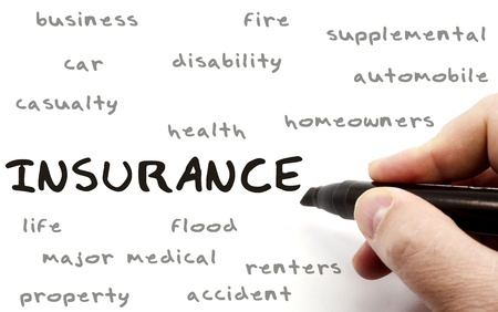 health insurance: Insurance being written with a black marker on a dry erase board by a hand with other terms such as business, fire, car, health, homeowners, disability and more.