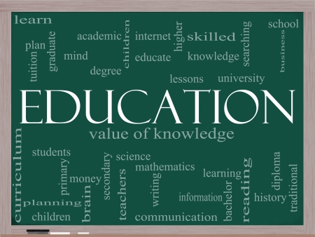 curriculum: A word cloud concept around the word Education written on a blackboard with great terms such as degree, diploma, university, reading and more.