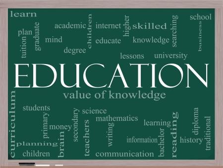 onderwijs: Een woord wolk concept rond het woord Onderwijs geschreven op een schoolbord met grote termen als graad, diploma, de universiteit, lezen en nog veel meer. Stockfoto