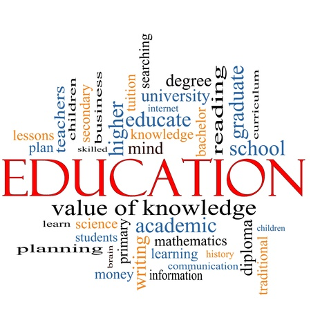 A word cloud concept around the word Education with great terms such as degree, diploma, university, reading and more. Stock Photo