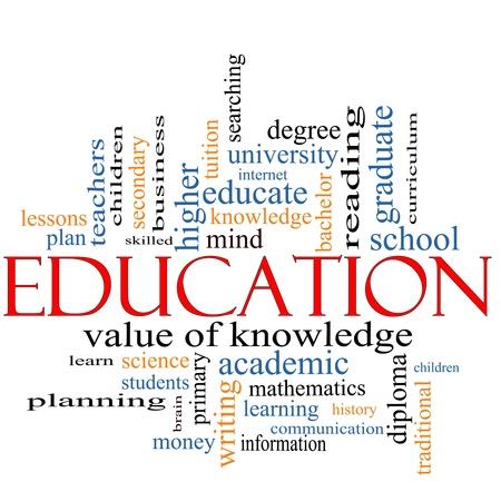 docenten: Een woord wolk concept rond het woord onderwijs met grote termen als graad, diploma, de universiteit, lezen en nog veel meer.
