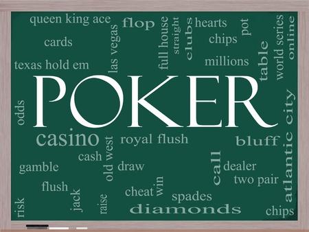 jack pot: Palabra de Poker concepto de nube en una pizarra con los t�rminos de la talla de tarjetas, farol, comerciante, papas fritas, as y mucho m�s. Foto de archivo
