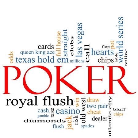 old desk: Poker Word Cloud Concept with great terms such as casino, cards, bluff, dealer, chips, ace and more. Stock Photo