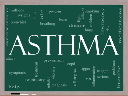 symptoms: An Asthma word cloud concept on a blackboard with terms such as rx, breathe air, medication, lungs and more.