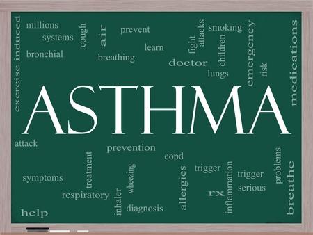 asma: Una palabra nube concepto de asma en una pizarra con términos tales como RX, respiran aire, la medicación, los pulmones y mucho más.