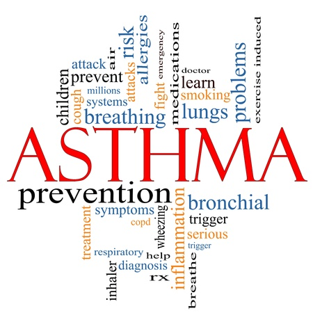 An Asthma word cloud concept with terms such as rx, breathe air, medication, lungs, doctor and more.