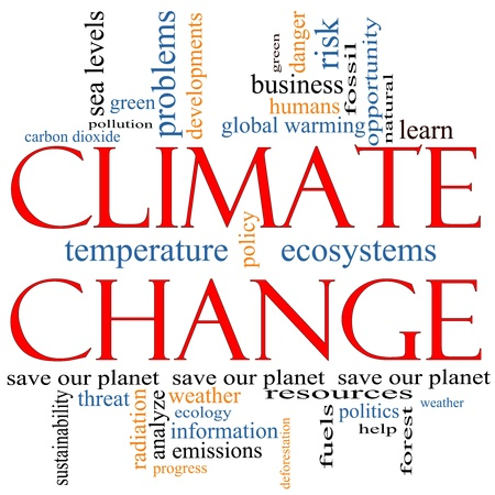A Climate Change word cloud concept with terms such as save, planet, global, warming, green, pollution and more.