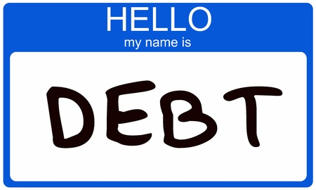 Hello my name is DEBT written on a blue nametag sticker making a great debt concept. Stock Photo - 12073248