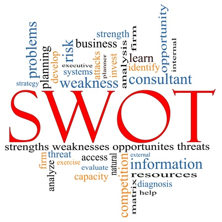 information analysis: SWOT, strength, weakness, opportunities, threats word cloud concept with terms such as planning, consultant, firm, help, matrix, executive and more. Stock Photo
