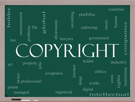 law enforcing: A Copyright word cloud concept on a blackboard with terms such as industry, holder, digital and more. Stock Photo