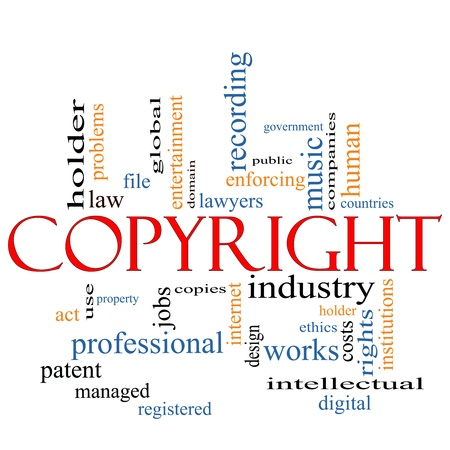 enforcing: A Copyright word cloud concept with terms such as government, music, industry, holder, digital and more. Stock Photo