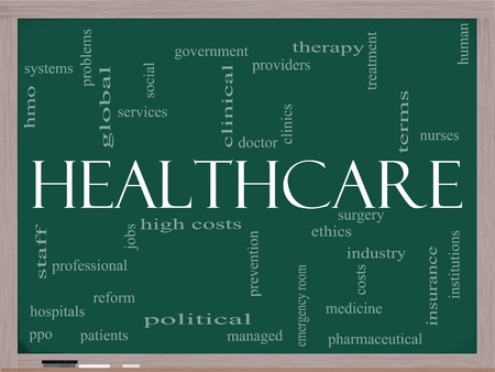 care providers: A Healthcare word cloud concept on a blackboard with terms such as industry, insurance, hospital, doctor, nursers and more. Stock Photo