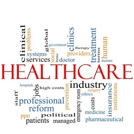 Een Healthcare word cloud concept met termen zoals de hervorming, industrie, verzekeringen, ziekenhuis, arts, nursers en nog veel meer. Stockfoto