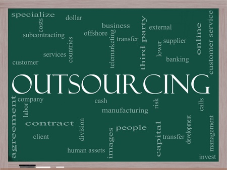 An Outsourcing word cloud concept on a blackboard with terms such as manufacturing, people, customer service and more.