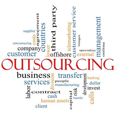 Una palabra de Outsourcing nube concepto con t�rminos tales como alta mar, la fabricaci�n, la gente, servicio al cliente y mucho m�s. Foto de archivo - 12336514