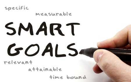 specific: A hand writing Smart Goals with a black pen with the words specific, measurable, relevant, attainable, and time bound written in the background.