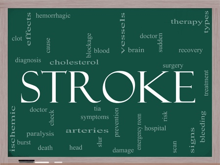bleeding: A Stroke word cloud concept on a blackboard with terms such as brain, bleed, signs, blockage and more.