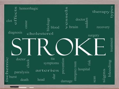 hemorragias: Una palabra Stroke concepto de nube en una pizarra con t�rminos tales como el cerebro, sangrado, signos, el bloqueo y mucho m�s.