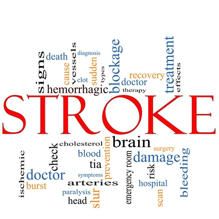 brain damage: A Stroke word cloud concept with terms such as doctor, sudden, brain, bleed, signs, blockage and more. Stock Photo