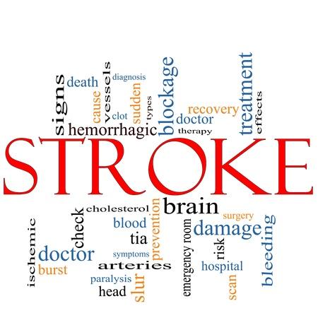 hemorragias: Una palabra Stroke concepto de nube con t�rminos tales como m�dico, el cerebro de repente, sangrado, signos, el bloqueo y mucho m�s.