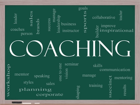 sales person: A Coaching word cloud concept on a blackboard with terms such as mentor, seminar, isntructor, sports, goals and more.