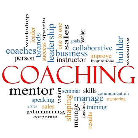 mentoring: A Coaching word cloud concept with terms such as leader, mentor, seminar, isntructor, sports, goals and more.