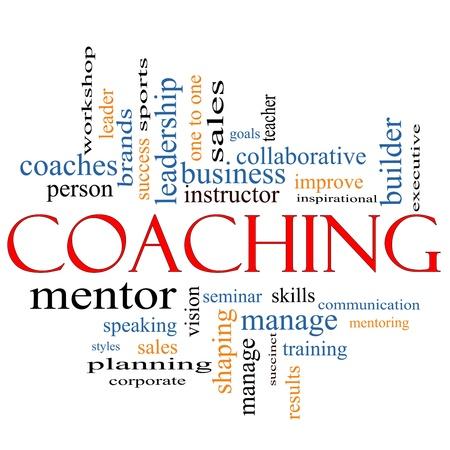 Een Coaching word cloud concept met termen als leider, mentor, seminar, isntructor, sport, doelen en nog veel meer.