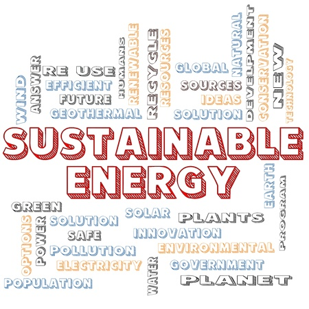 sustainable energy: A Sustainable Energy in block letters word cloud concept with terms such as green, solution, solar, earth, planet, recycle and more. Stock Photo