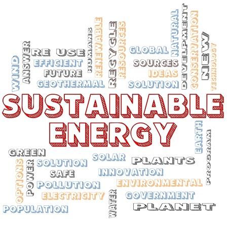desarrollo sustentable: Una energía sostenible en el bloque concepto de nube de letras de la palabra con términos tales como verde, la solución, la energía solar, la Tierra, el planeta, reciclar y más.