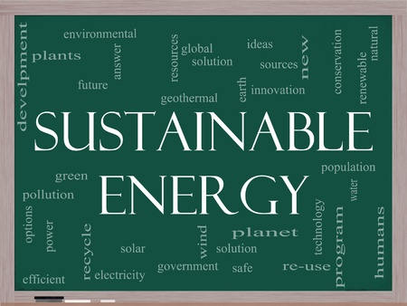 energy sources: A Sustainable Energy word cloud concept on a blackboard with terms such as green, solution, solar, earth, planet, recycle and more. Stock Photo