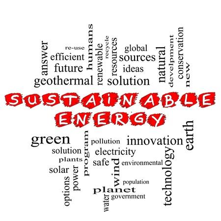 持続可能なエネルギー赤単語雲概念ソリューションでは、太陽、地球、惑星、リサイクル、グリーンなどの用語で走り書きしました。 写真素材