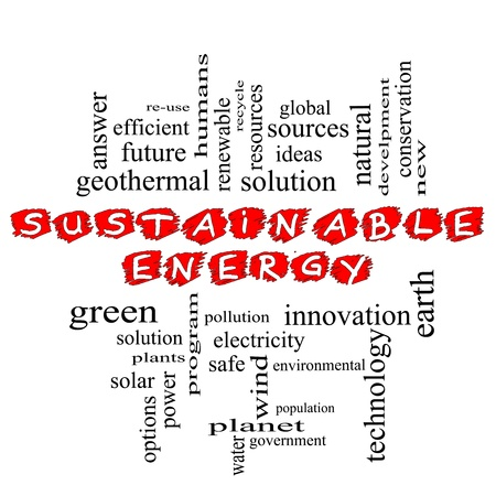 A Sustainable Energy scribbled in red word cloud concept with terms such as green, solution, solar, earth, planet, recycle and more.