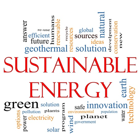 A Sustainable Energy word cloud concept with terms such as plants, green, solution, solar, earth, planet, recycle and more. Banco de Imagens