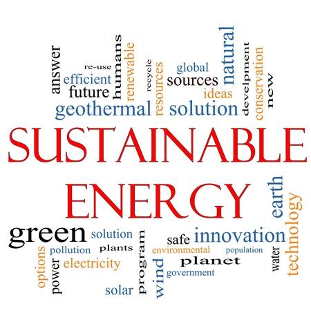 energia renovable: Una palabra de Energ�a Sostenible nube concepto con t�rminos tales como las plantas verdes, la soluci�n, la energ�a solar, la Tierra, el planeta, reciclar y m�s.
