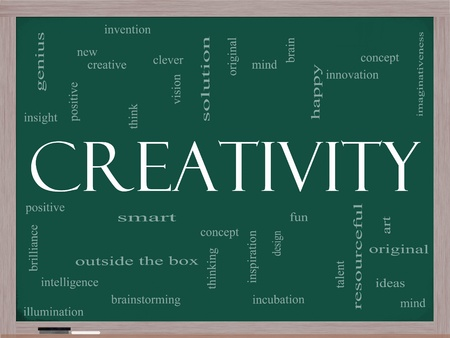 imaginativeness: Creativity Word Cloud Concept on a Chalkboard with great terms such as happy, innovation, fun, incubaton, ideas and more. Stock Photo