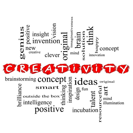 resourceful: Creativity Word Cloud Concept scribbled with great terms such as happy, innovation, fun, incubaton, ideas and more.