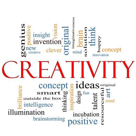 new thinking: Creativit� Nube Concetto Word con i termini grandi come il design, felice, l'innovazione, divertimento, incubaton, idee e altro ancora.